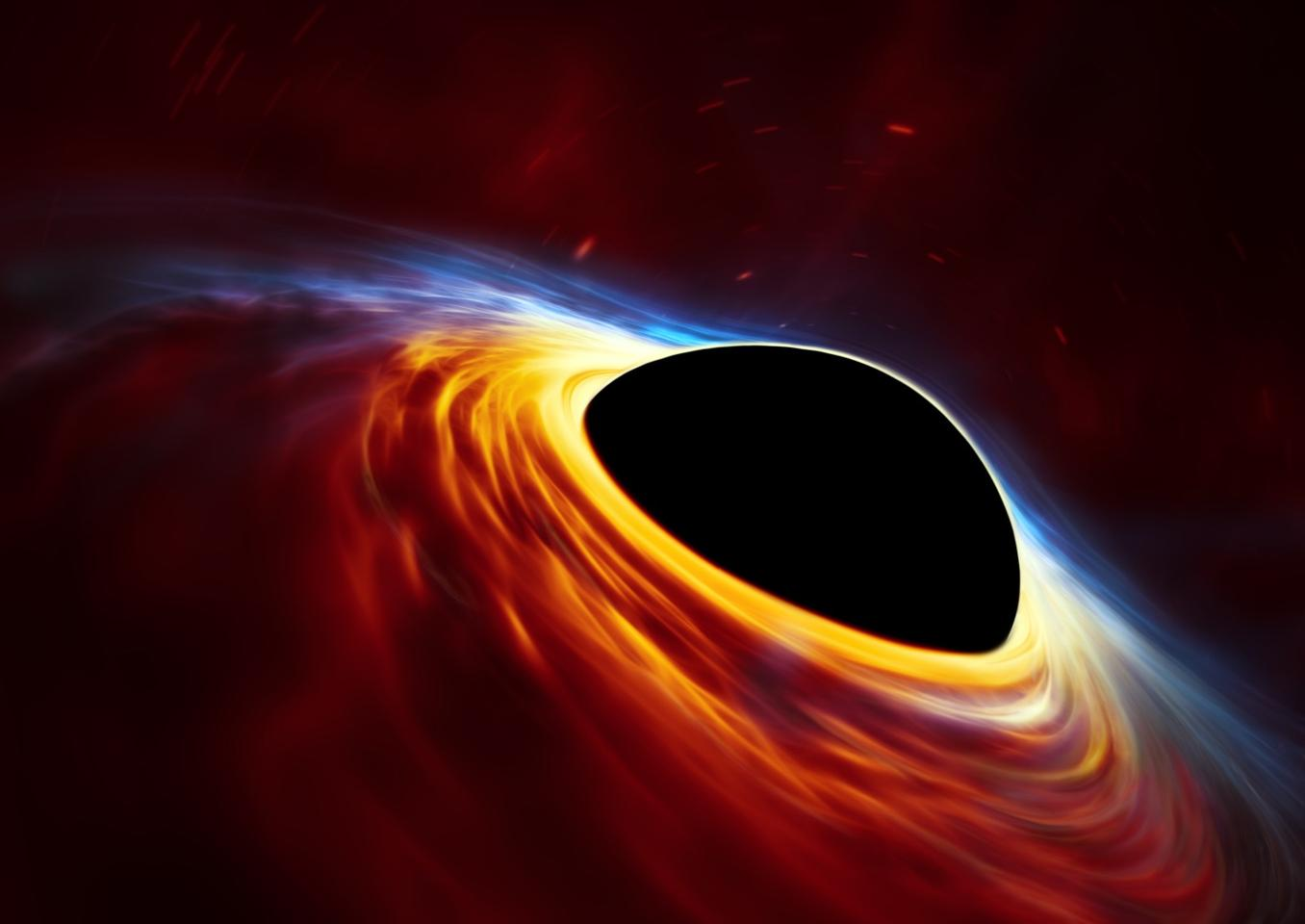 Artist's impression of a supermassive black hole surrounded by an accretion disk formed from a dead star