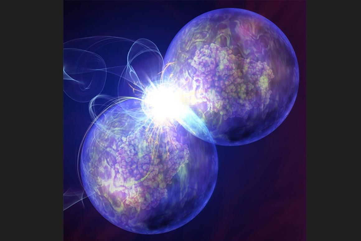An artist's impression of two mesenchymal stem cells being welded together