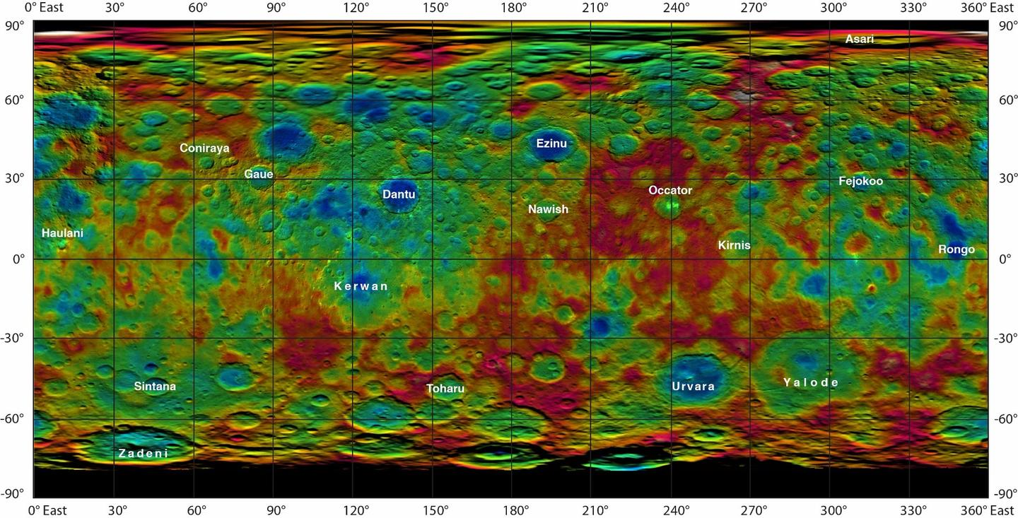Color-coded topographic map of Ceres, complete with newly-approved feature names