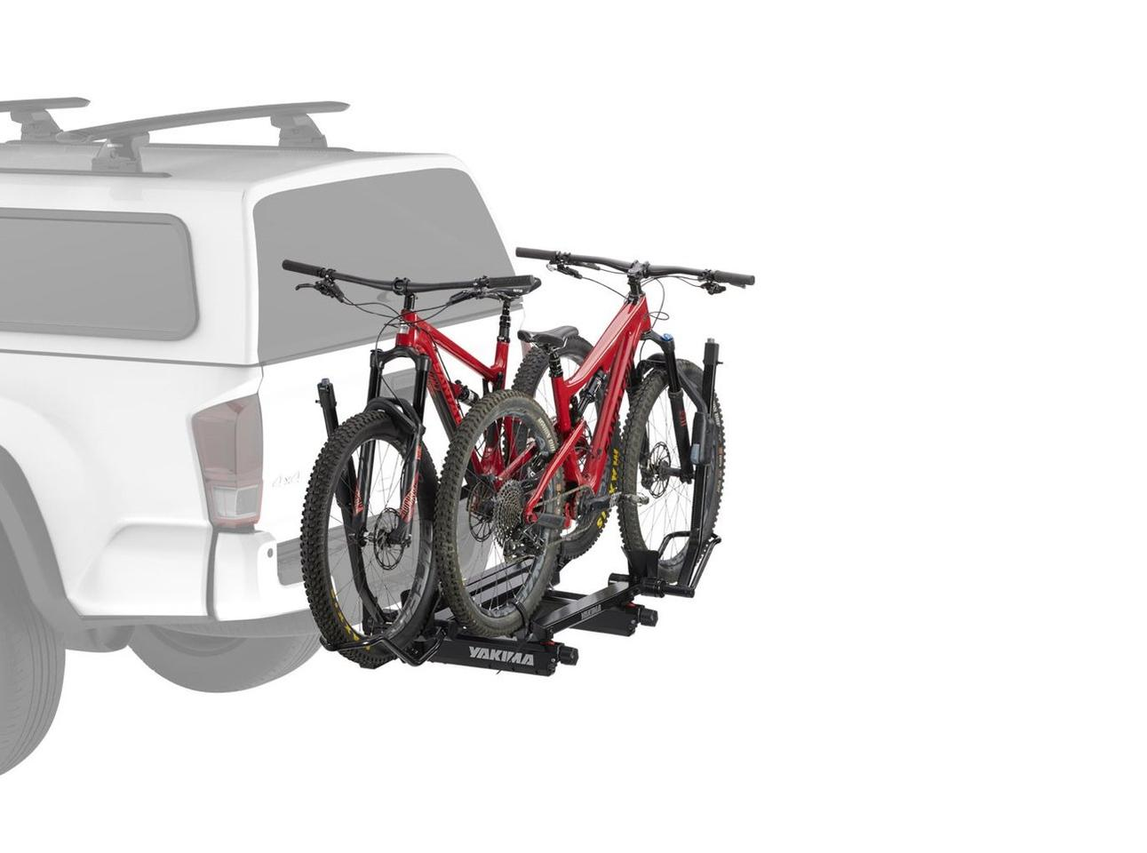 Yakima EXO DoubleUp bike rack mounted directly to the SwingBase for a lower, simpler setup