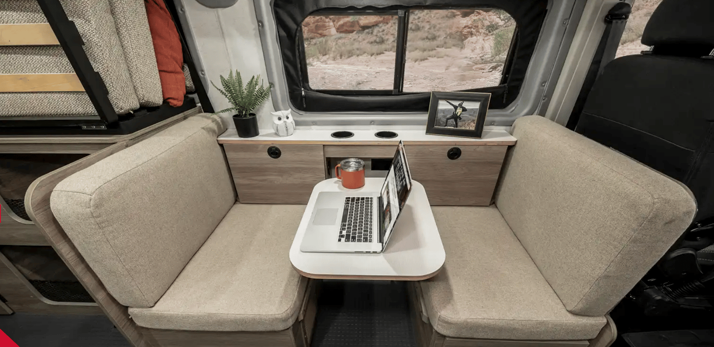 Set the table in the middle, and you have a two-person dinette or workstation