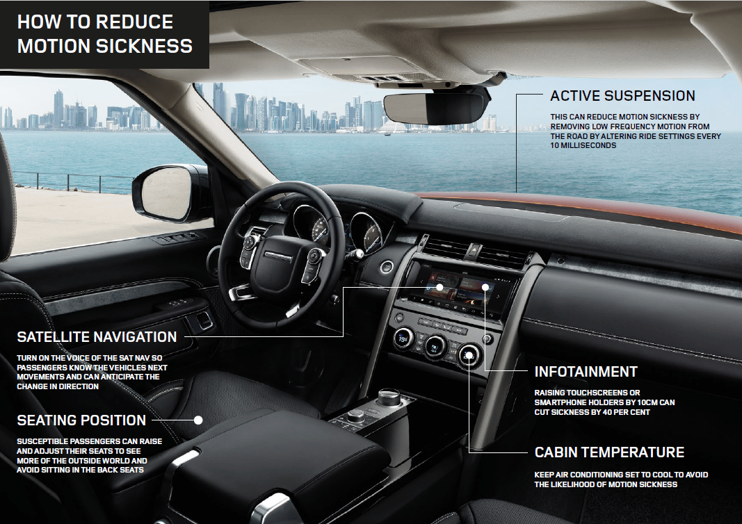 Jaguar Land Rover says its customized cabins could one day reduce car sickness by up to 60 percent