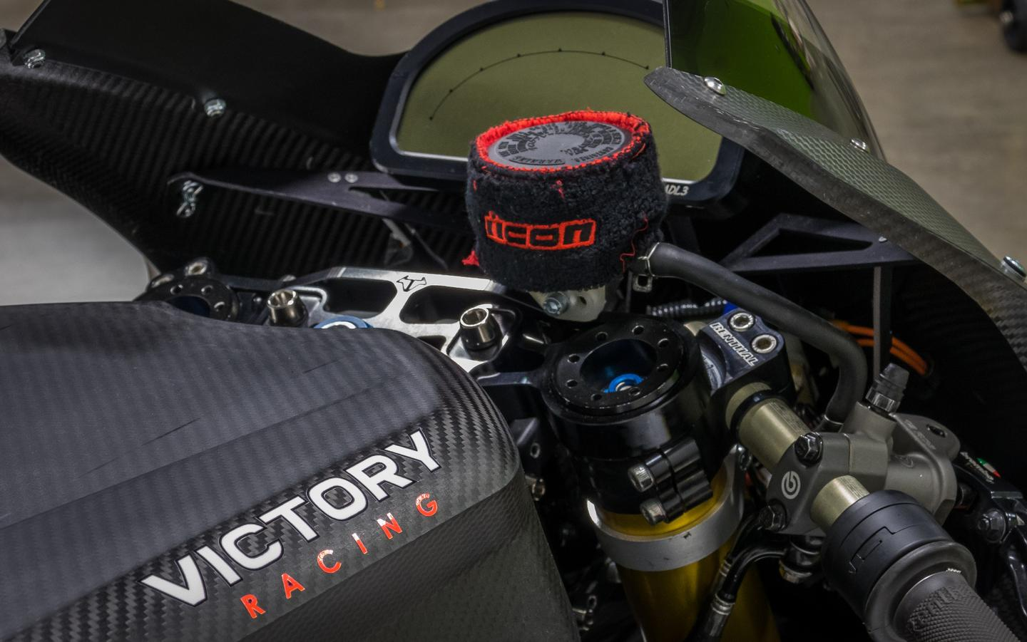 The view for the rider's seat on the Victory RR could easily belong to any world-class superbike (equipped with a Brammo top yoke)