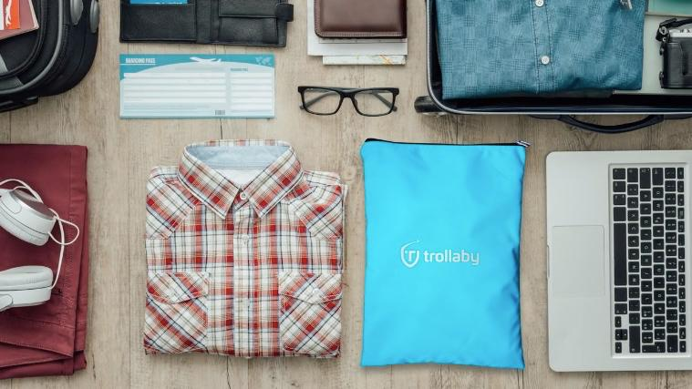 When not in use, the Trollaby packs down into a flat rectangular bag that's about the size of a laptop computer