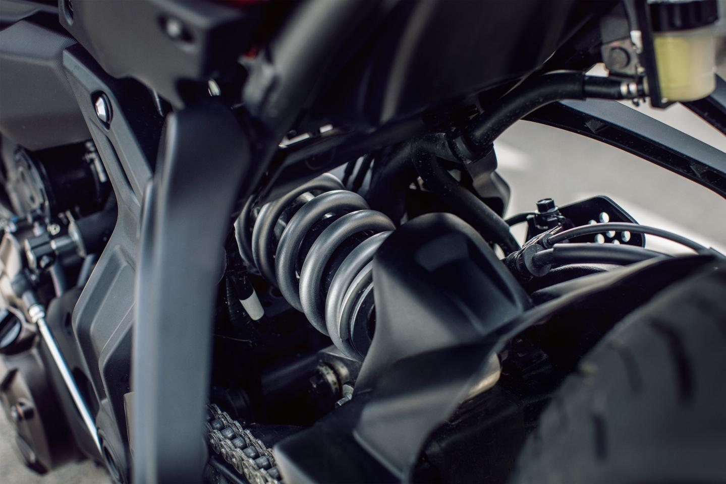 The rear shock of the Yamaha Tracer 700 is adjustable only for preload