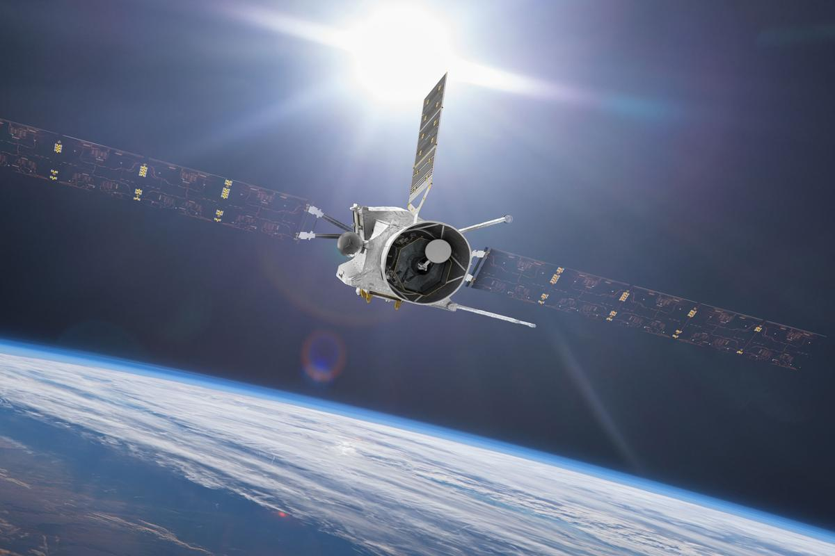 Artist's concept of BepiColombo flying by Earth