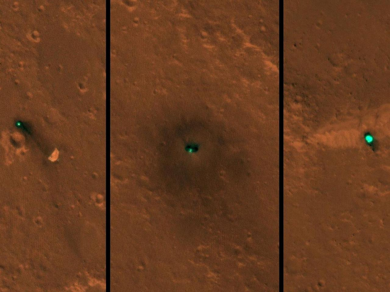 Composite image showing(from left to right)theInSight spacecraft's parachute, the lander itself and theheat shield on the surface of Mars