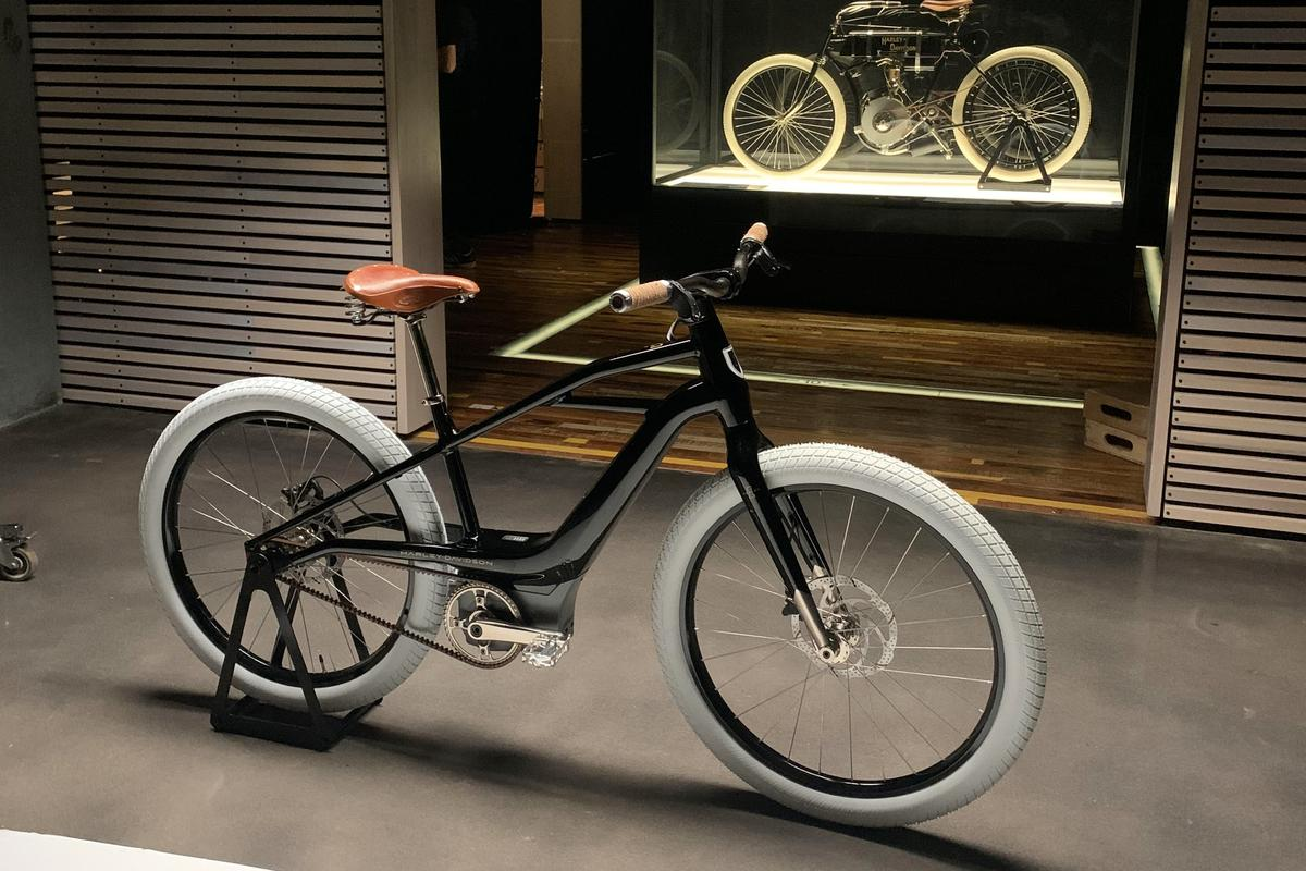 The Serial 1 prototype poses in front of the oldest known Harley-Davidson motorcycle, nicknamed the Serial Number One