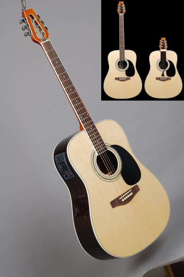 The novel Acoustar travel guitar, with a neck that slides inside the body for transport