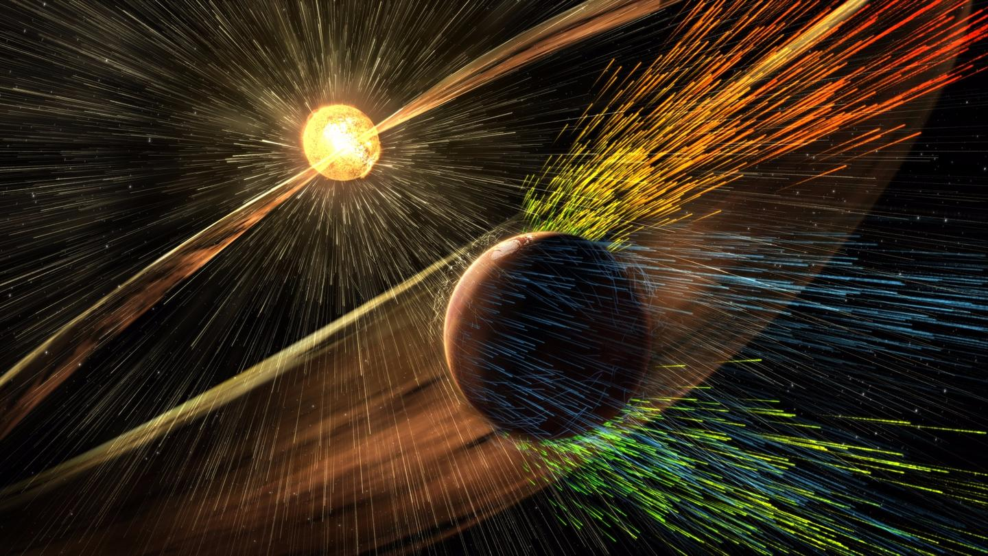 Artist's rendering of a solar storm hitting Mars and stripping ions from the planet's upper atmosphere