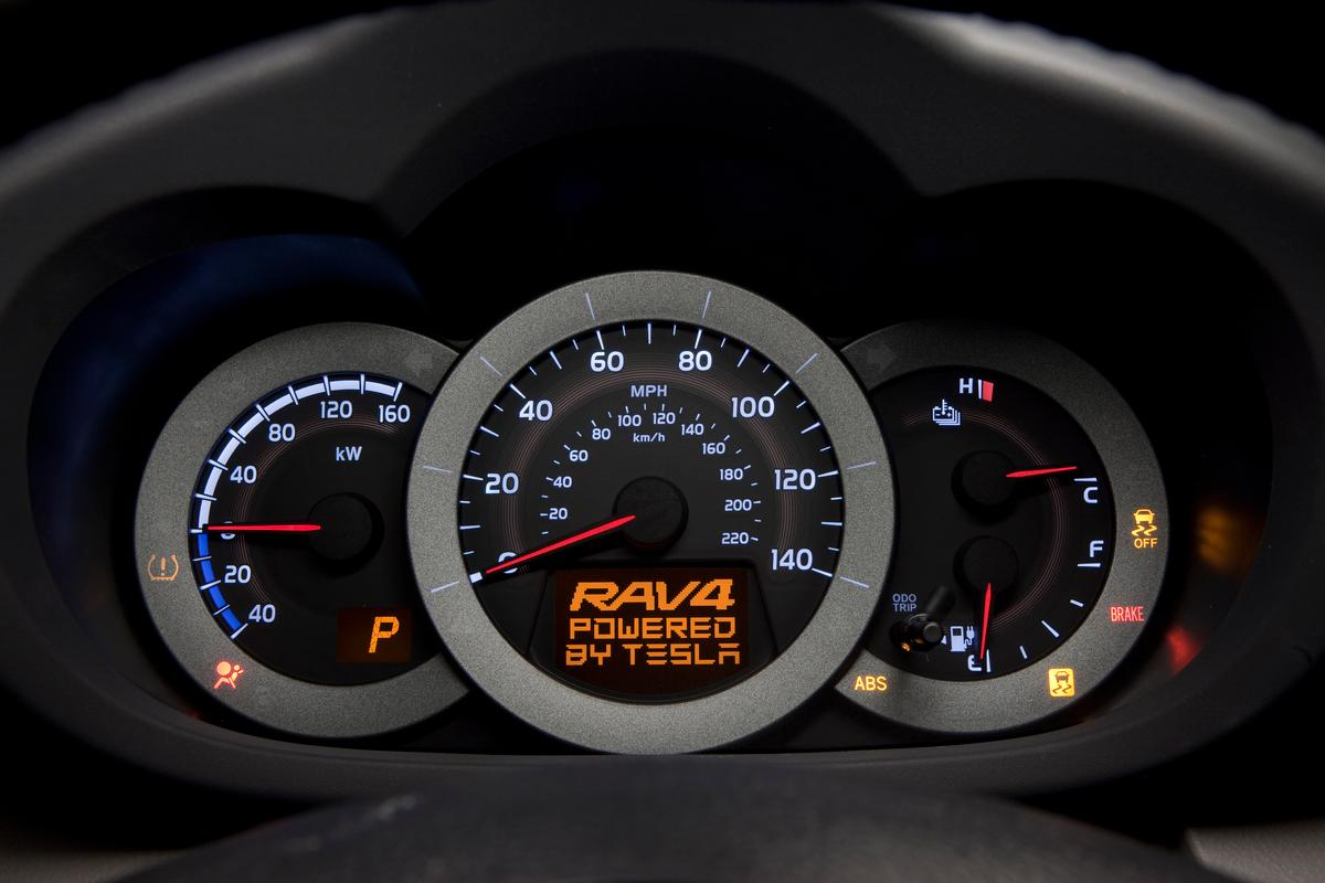 Rav 4 EV demonstrator dashboard