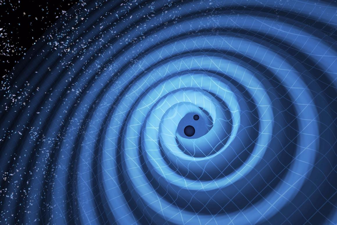 Artist's impression of the ripples in spacetime created in the final 27 orbits of two black holes, eight and 14 times the mass of our sun prior to their collision