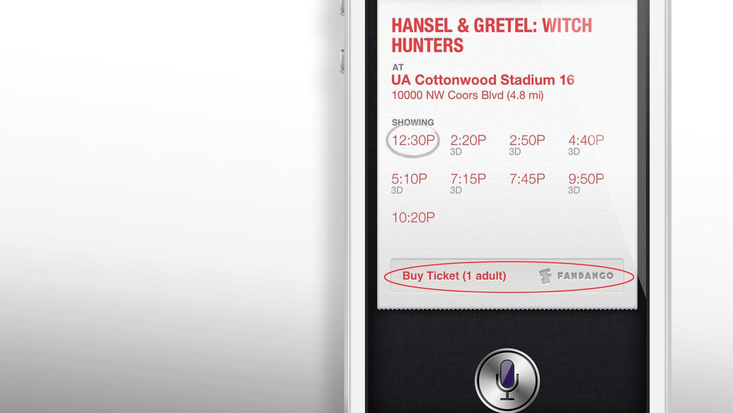 Starting in iOS 6.1, Siri can direct you to Fandango to buy movie tickets