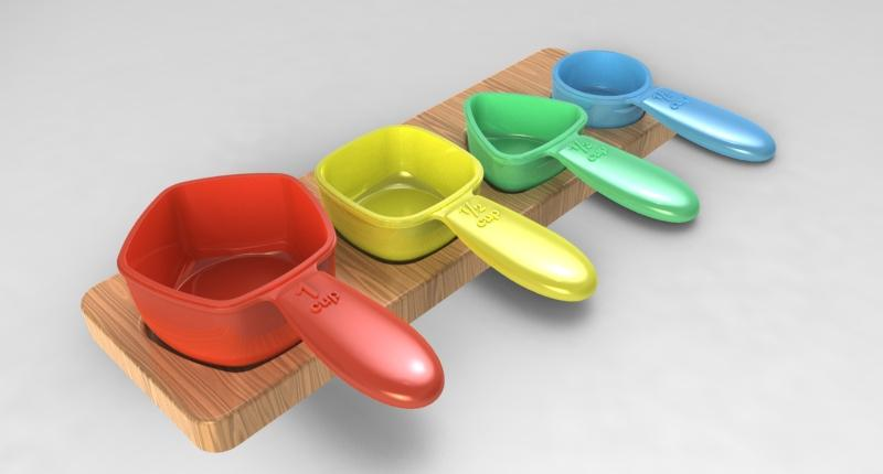 The measuring utensils are intuitively designed by color and shape, with the larger sized handles enabling a more secure palmar grip (Photo: Amanda Savitzky)