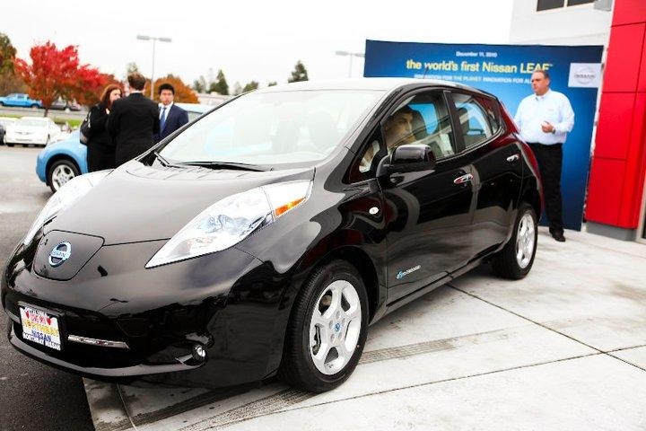 Olivier Chalouhi in his new Nissan LEAF