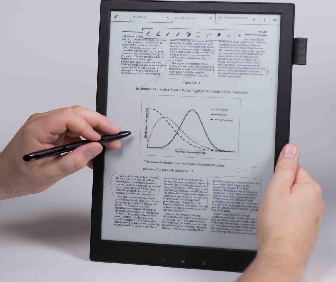 The Digital Paper tablet has an E-Ink Mobius screen which will allow users to annotate a document while resting their hand on the tablet, encouraging a natural writing style