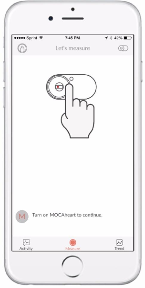 The Mocaheart app walks the user through taking a reading