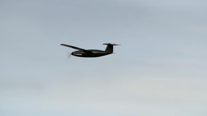 The Hywings drone in flight