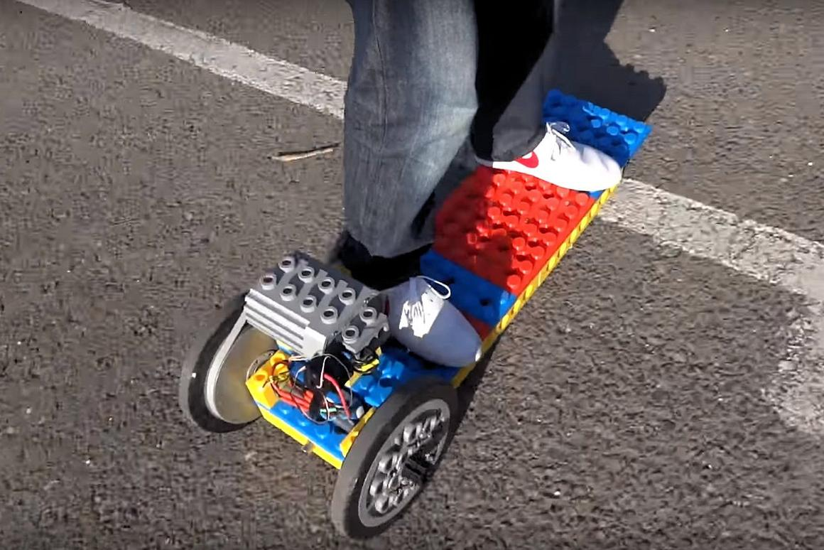 "The turning circle of the 3D-printed ""Lego"" electric longboard isn't exactly tight, making it more suited to long straight runs than slalom"