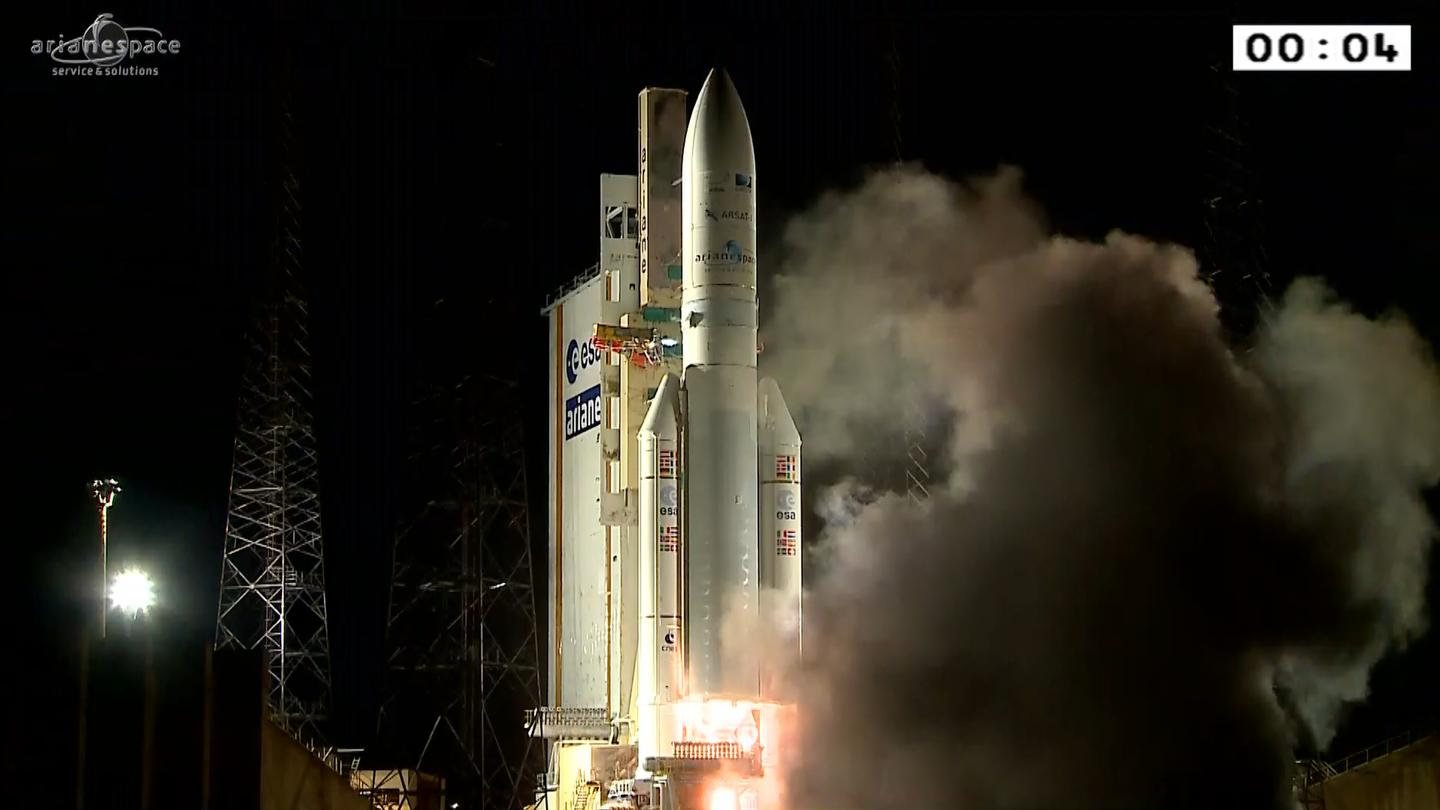 An Ariane 5 similar to this one blasting off from Europe's Spaceport in Kourou, French Guiana, will be used to take the James Webb Space Telescope into Earth orbit