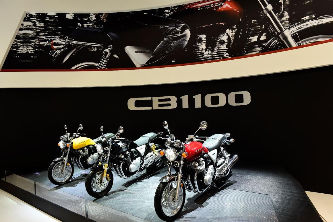 The CB1100 trio – from right to left, Standard, RS and EX – at Honda's Intermot booth