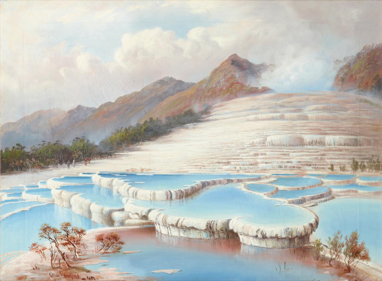 New Zealand's spectacular White Terraces, as painted by artist Charles Blomfield in 1882, just four years before their destruction.
