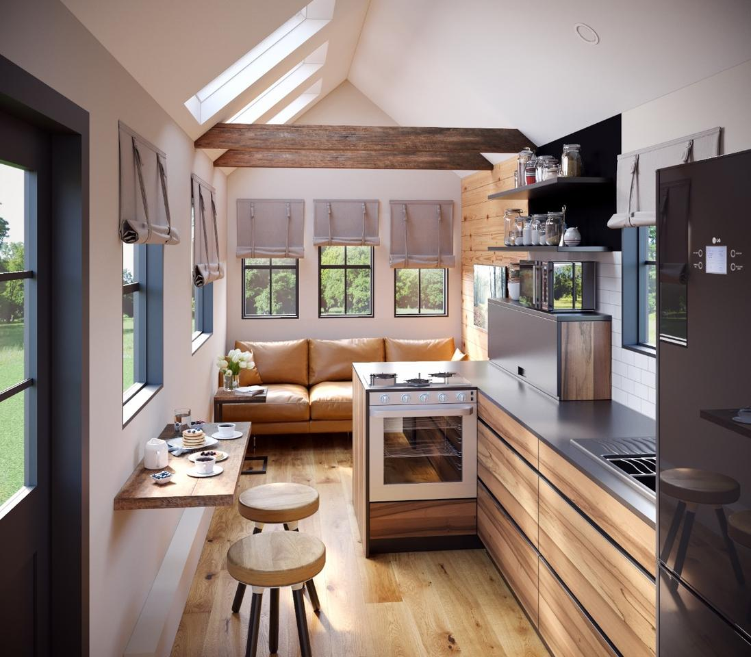 A good chunk of the Goose's interior is taken up by an open living area which includes a living room and a kitchen