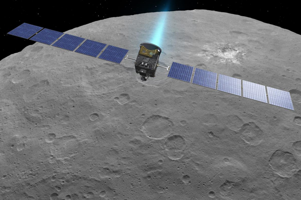 Artist concept of Dawn in orbit around dwarf planet Ceres