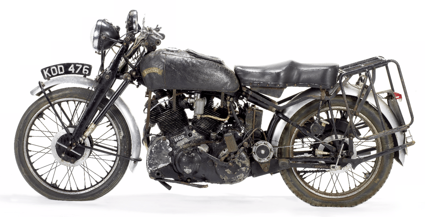This Vincent White Shadow was put into storage in 1975where it remained untouched for 42 years – it sold at Bonhams Spring Staffordshire sale this week for £163,900 (US$210,045.