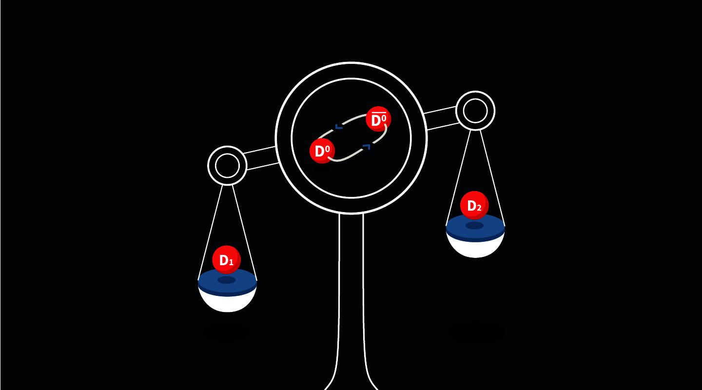 An illustration highlighting the difference in mass between two versions of the charm meson