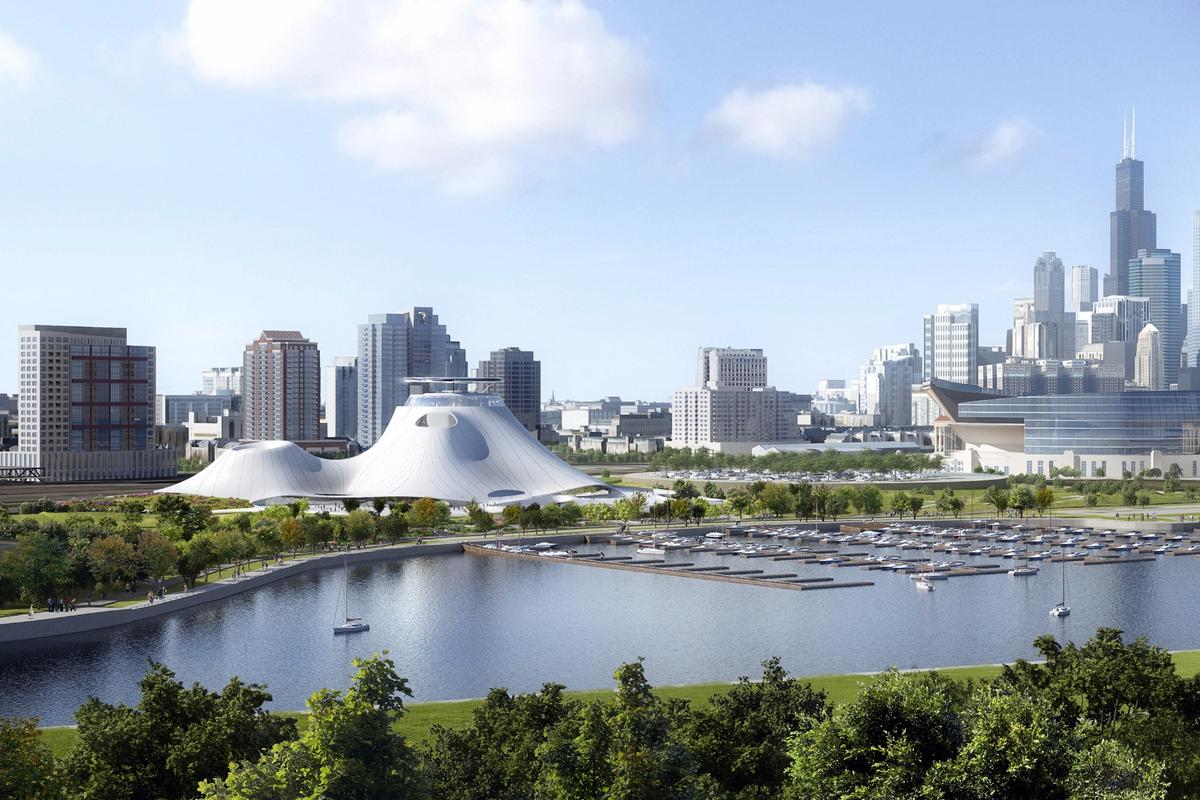 View of the Lucas Museum of Narrative Art with cityscape, from the southeast