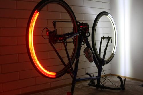The Revolights system illuminates the front of the front wheel and the back of the rear wheel, as the wheels are spinning