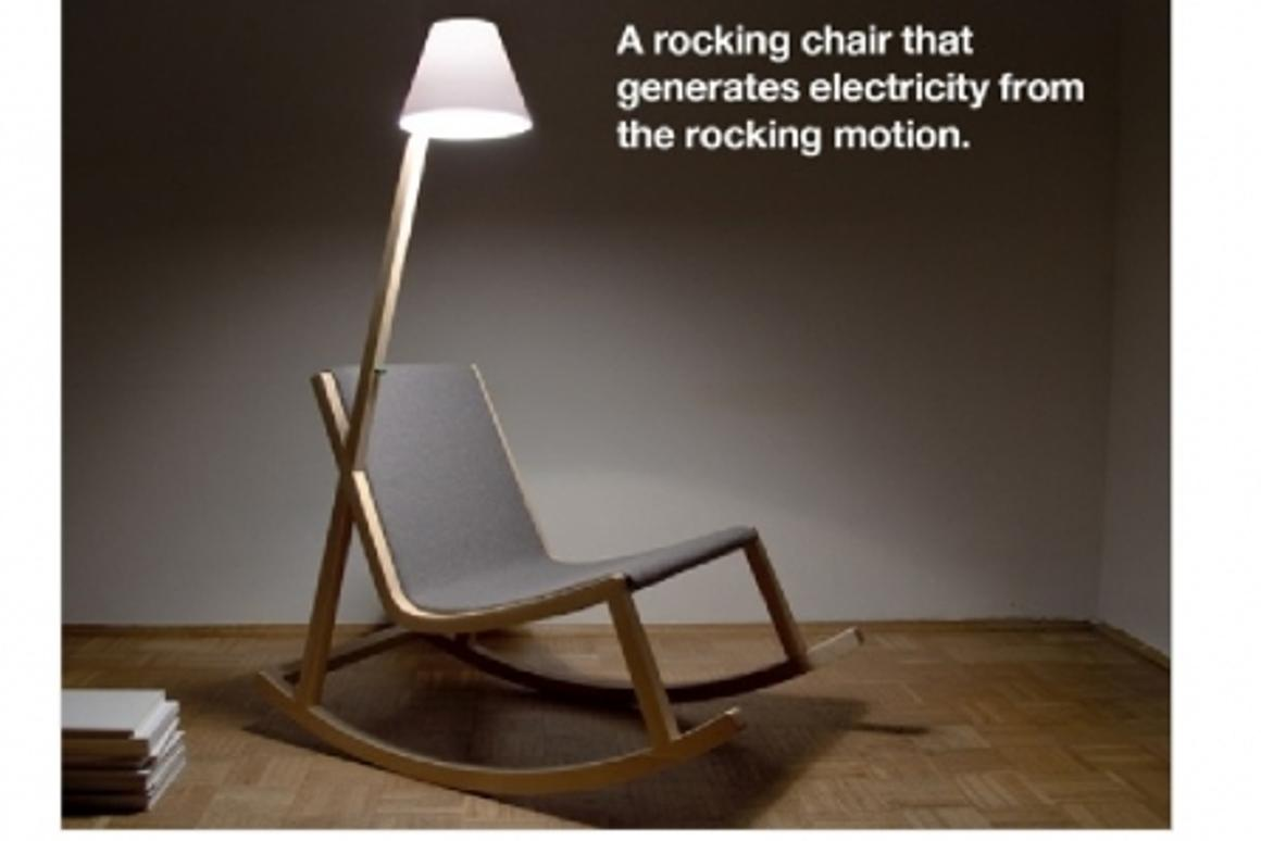 The Murakami Rocking Chair powers its own reading lamp through a gentle rocking motion created by its user