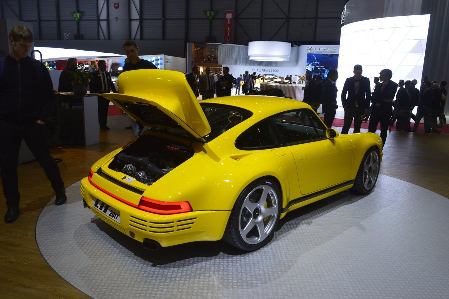 The CTR Yellow Bird with its twin-turbo engine on show