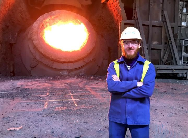 Lead scientistDr. Szymon Kubal, at the Tata Steel Port Talbot steelworks