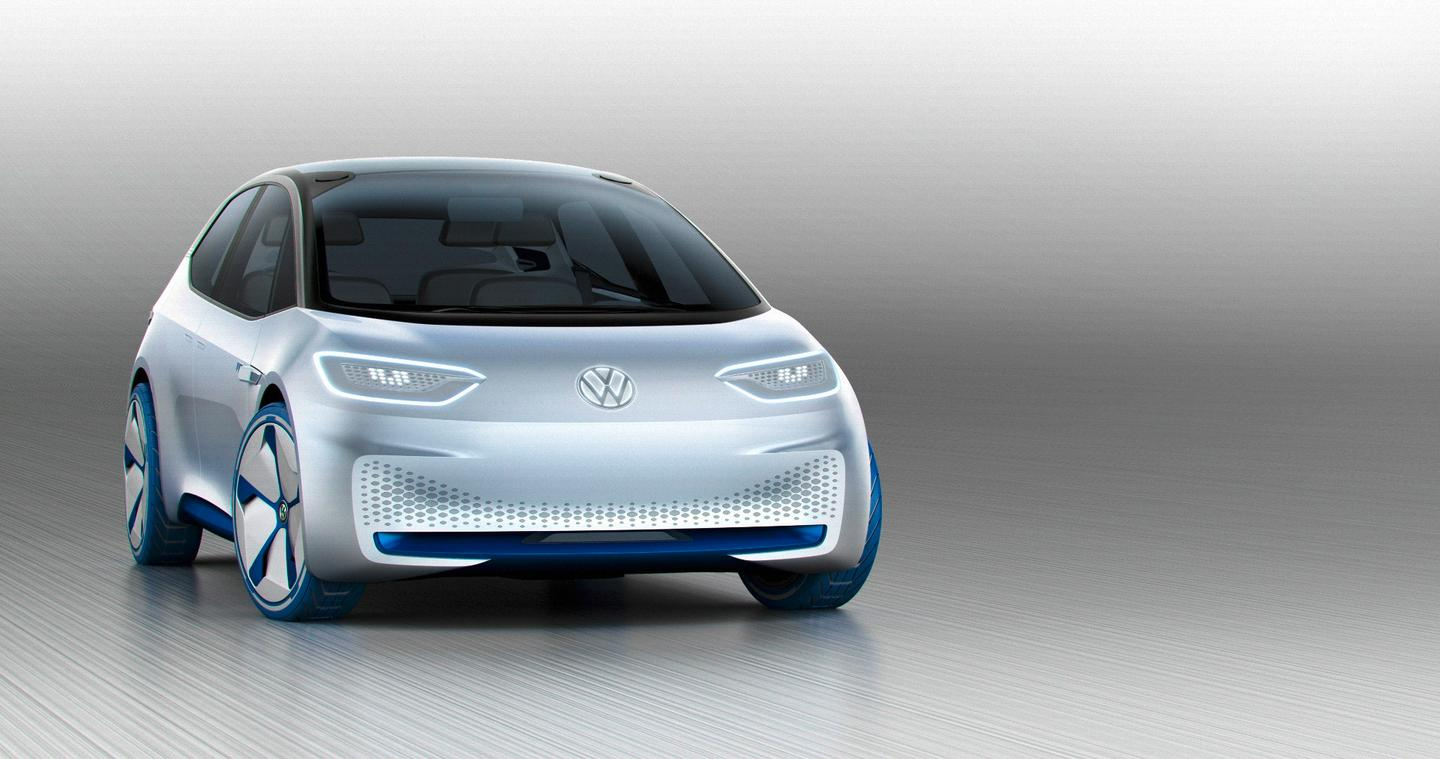 "The Volkswagen ID concept's eyes can move to ""look at"" approaching pedestrians"
