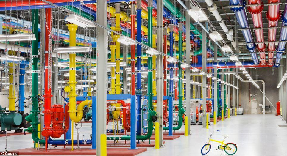 Color-coded pipes for the cooling system, and a G-Bike for employees to get around the facility