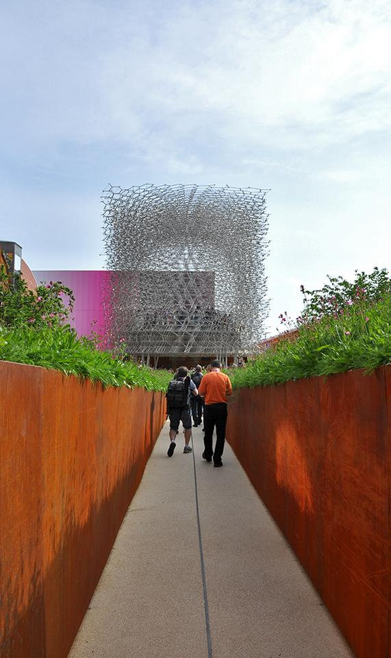 The UK Pavilion is inspired by the concept of a bee's journey