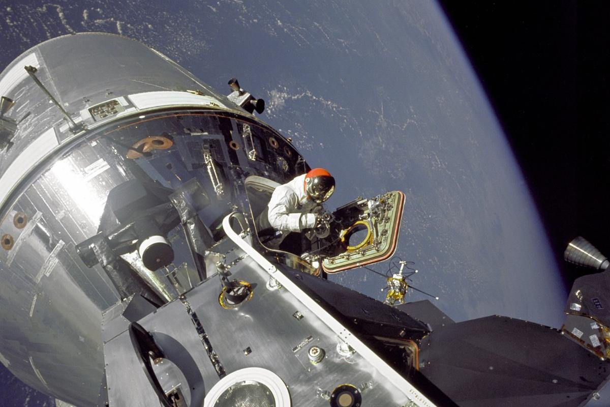 David Scott leaving the Command Module