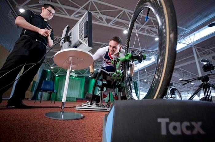BAE Systems has developed atrainer for professional wheelchair racers, which lets them virtually trainon courses around the world