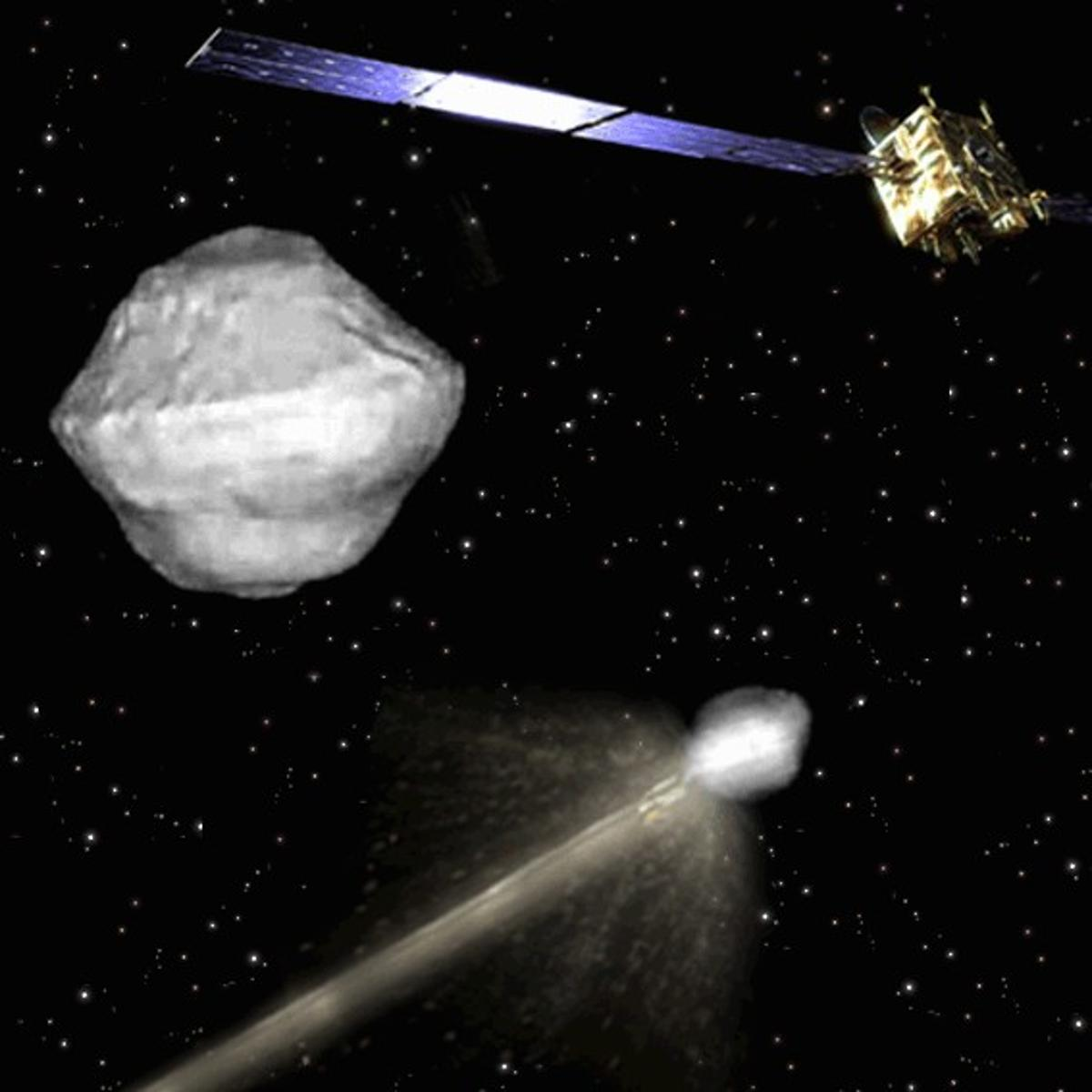 Artist's concept of the US-European Asteroid Impact and Deflection mission (AIDA)
