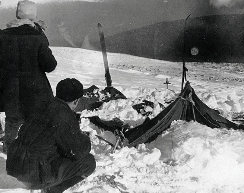 The tent as it was discovered by the rescue team, a month after the hikers vanished