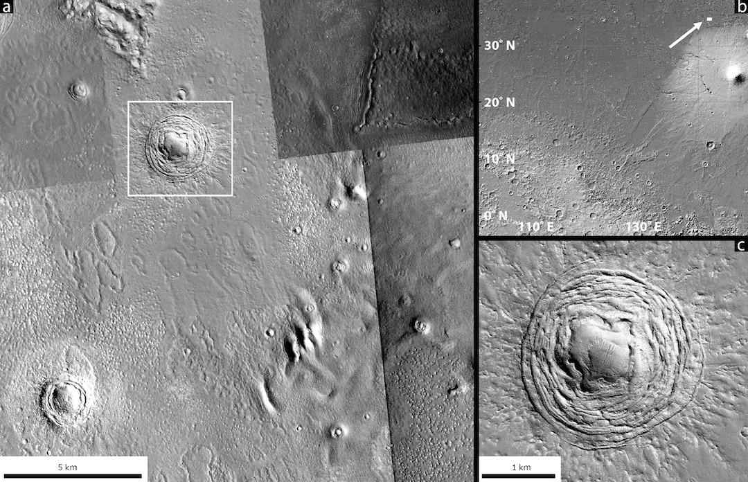 This depression in the Galaxias Fossae region on Mars, as seen from different angles, appears to have been the result of an asteroid impact
