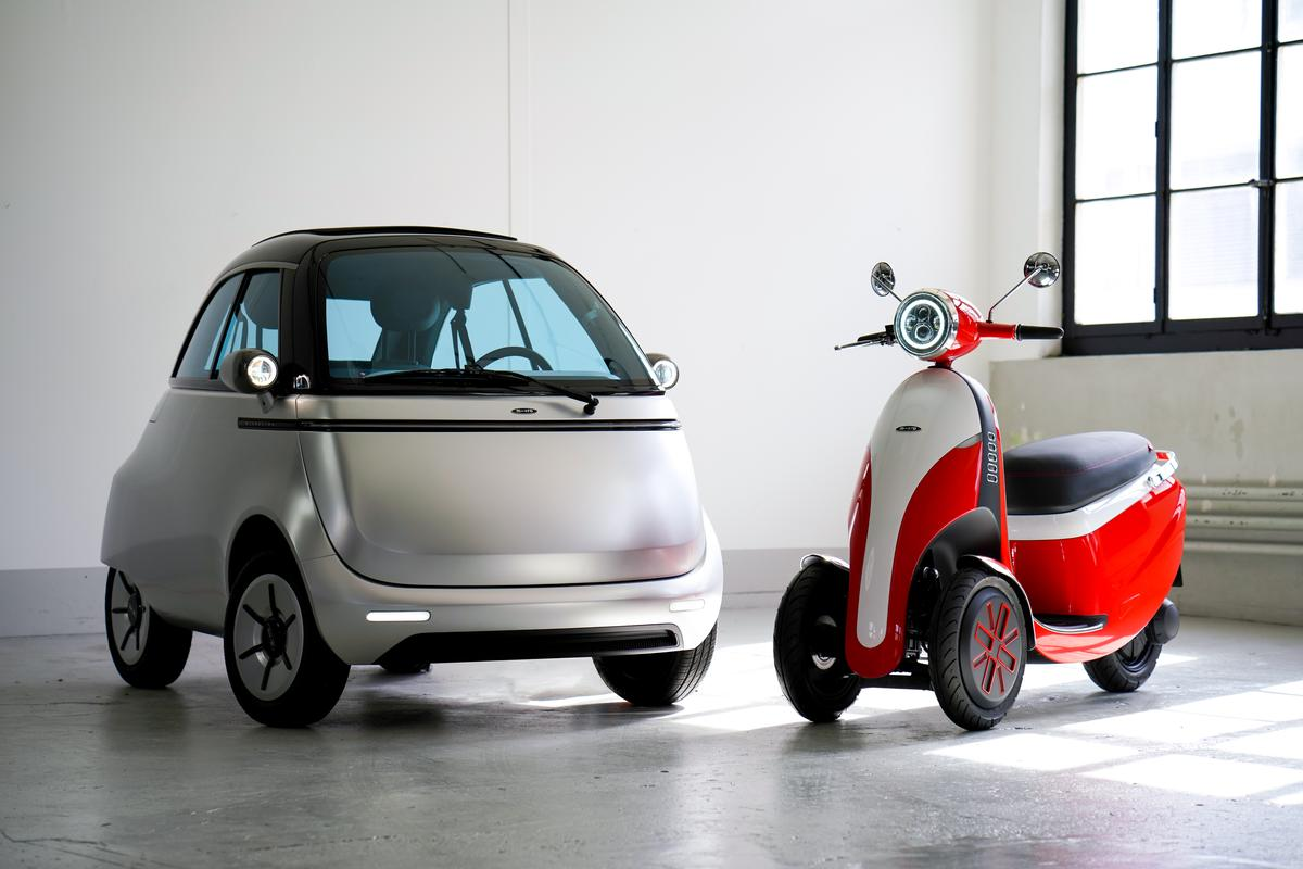 The Microlino 2.0 (left) will begin production in 2021, while the Microletta is still a concept for now