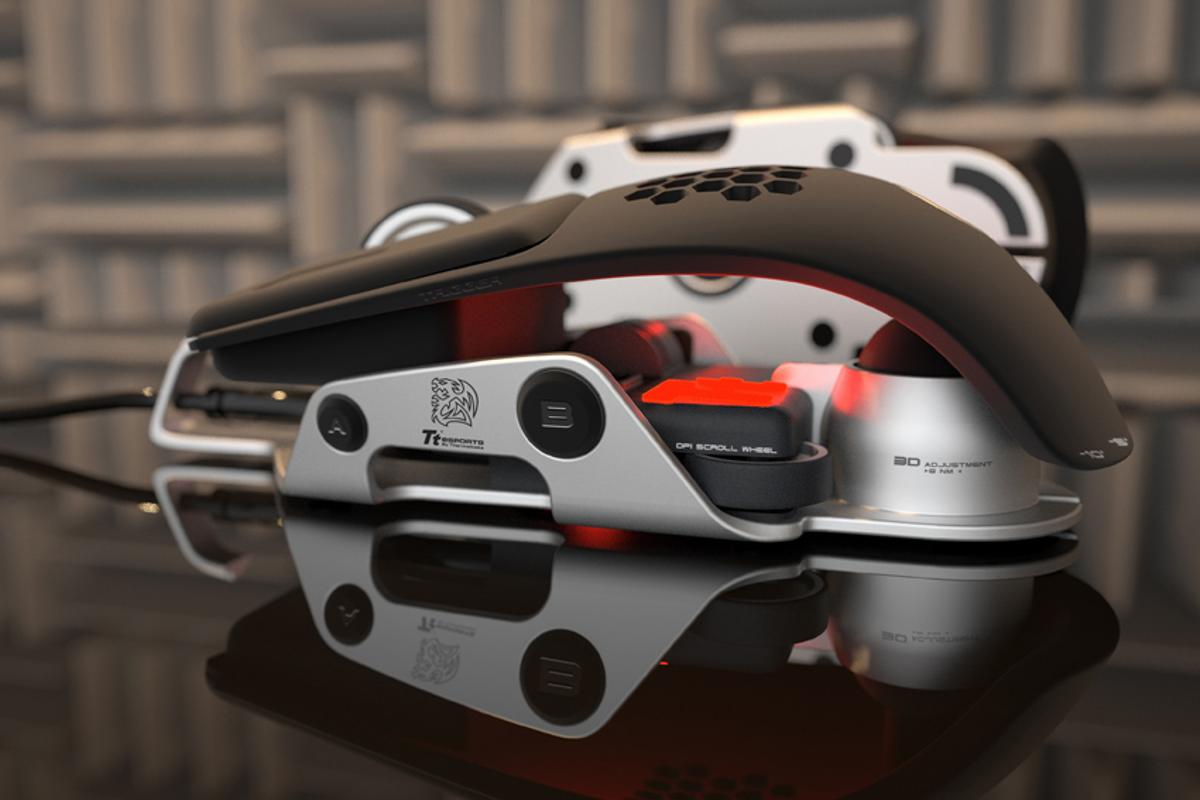 Designed by DesignworksUSA, the Thermaltake Level 10 M Mouse flaunts its inner componentry