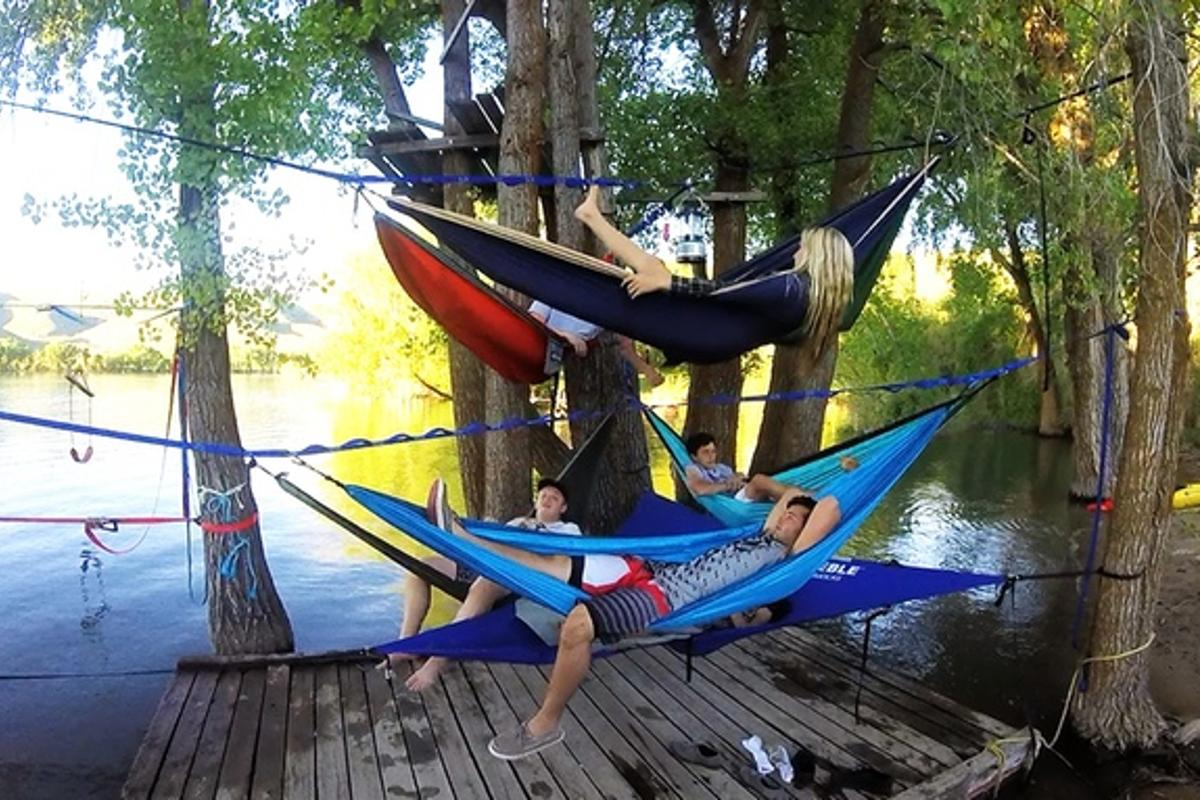 The Tree-O frame lets you group hammocks together with ease