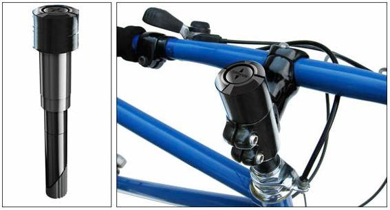 The flipphandle is a bicycle handlebar stem that lets riders turn their handlebars sideways, so the bike can be more easily stored