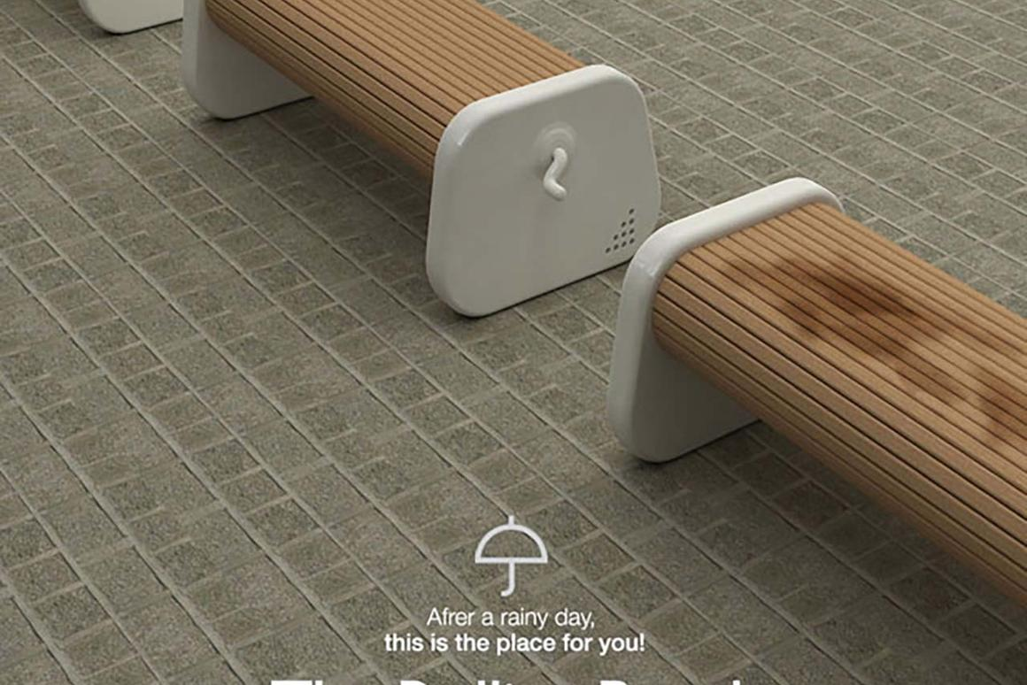 Sung Woo Park's Rolling Bench - rotate it around and you've got a dry seat.