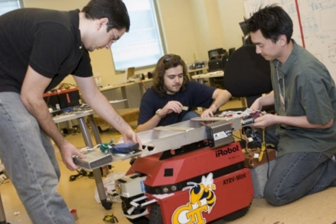College of Computing students work on building rescue robots
