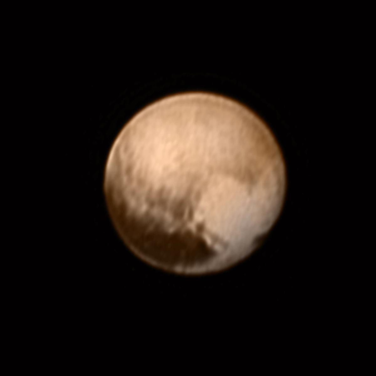 Color image of Pluto as seen on July 8 from New Horizons